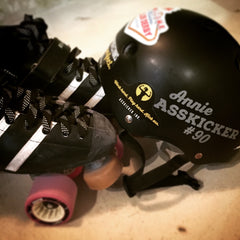 Put your Asskicker Ink. stickers on your roller derby helmet for a chance to win s free shirt!