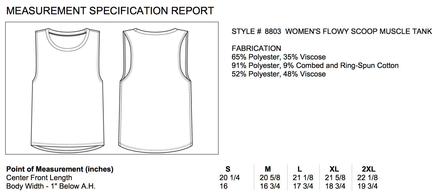 Size chart for flowy muscle tank