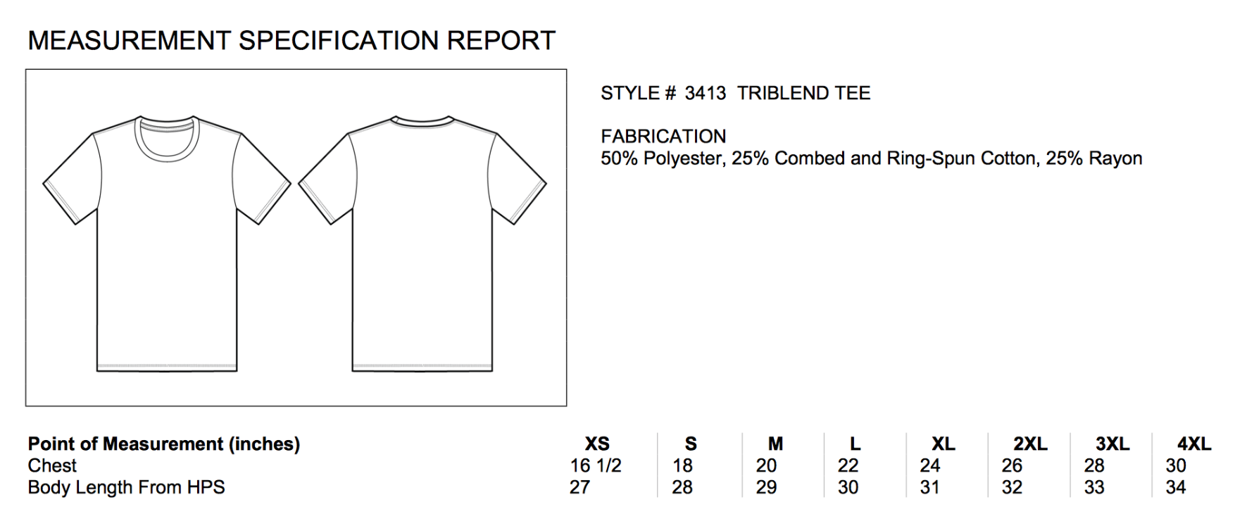 Size chart for triblend tee shirts