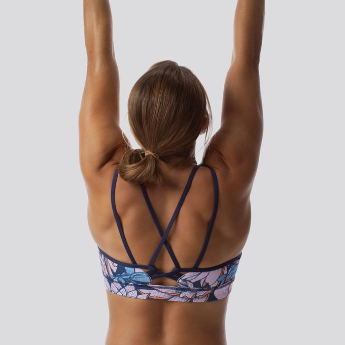 Lotus sports bra - perfect for yoga. Beautiful water lily pattern.