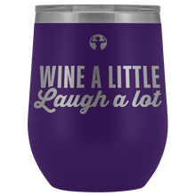 Purple stemless wine glass for patios that says Wine a Little, Laugh a Lot