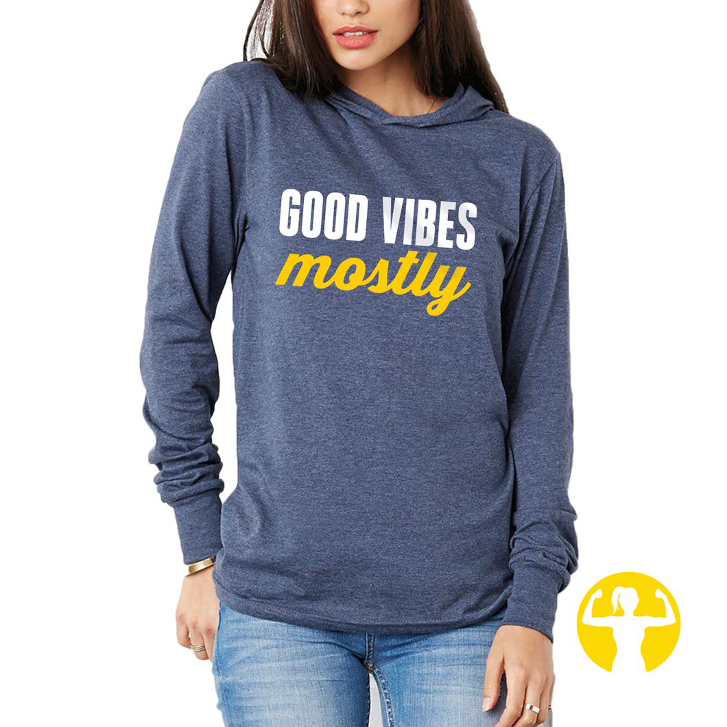 Good Vibes Mostly Navy Blue Light Jersey Pullover Hoodie