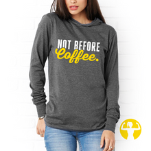 Not Before Coffee - Grey Light Jersey Pullover Hoodie