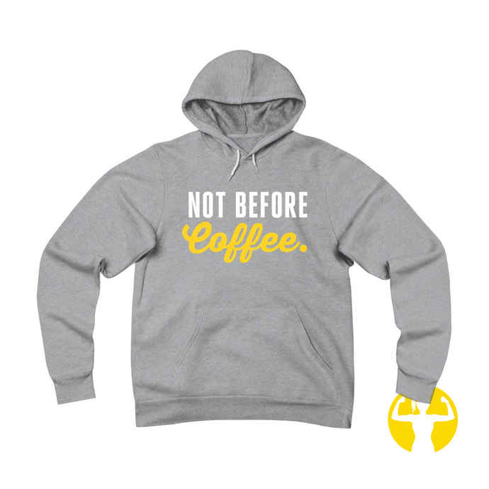 Not before coffee - fleece hoodies with sayings from Asskicker Activewear