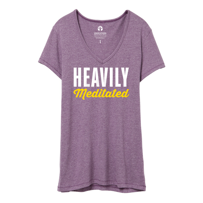 Heavily Meditated - Vintage Jersey V-Neck T-Shirt from Asskicker, Vintage Iris Purple