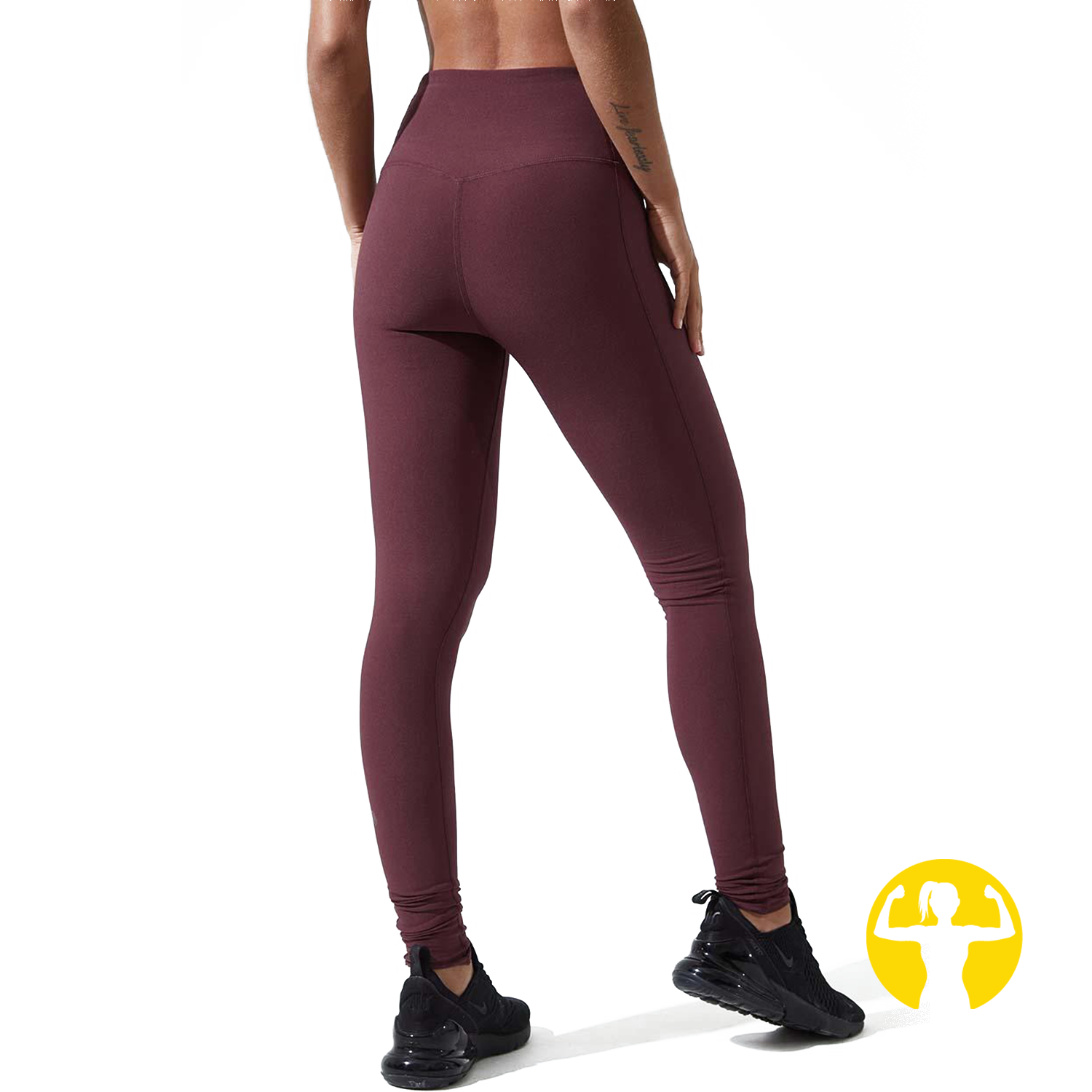 Rapid High Waisted Recycled Polyester Leggings - Chocolate Berry