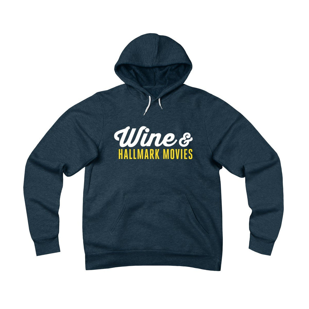 Wine & Hallmark Movies - cozy fleece hoodie for women, heather navy blue, from Asskicker Activewear