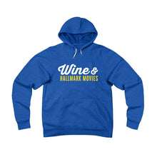 Wine & Hallmark Movies - cozy fleece hoodie for women, heather royal blue, from Asskicker Activewear