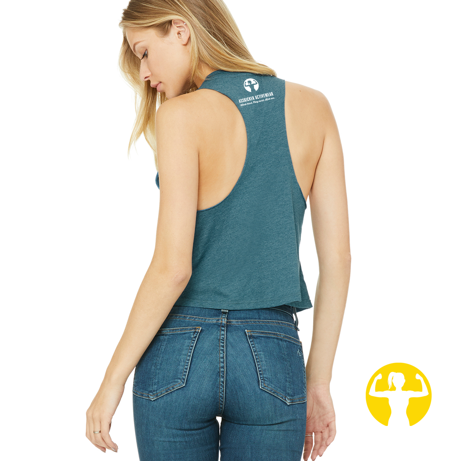 Cropped racerback tank top - teal