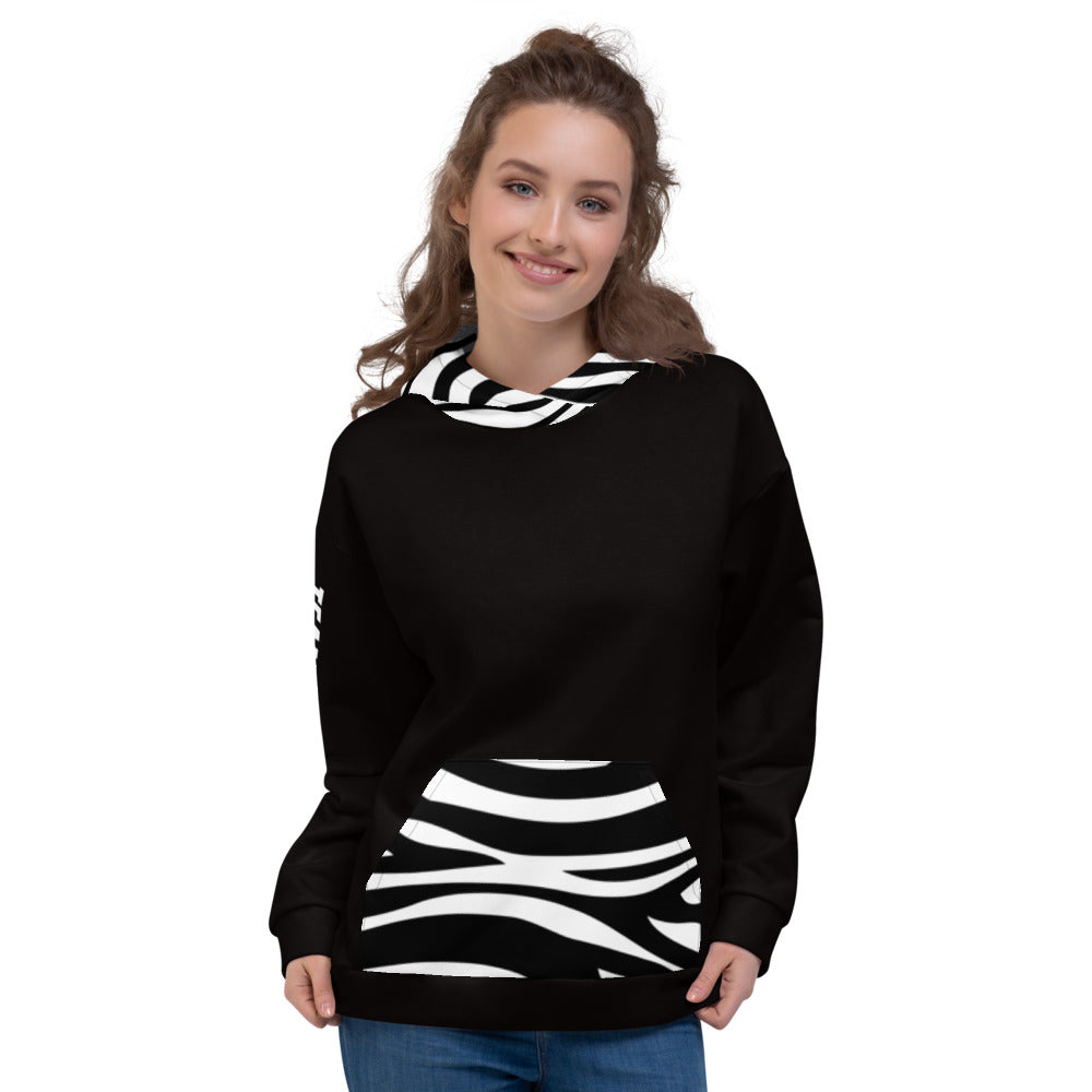 Customized hoodie for Roller Derby Refs - zebra pocket and hood