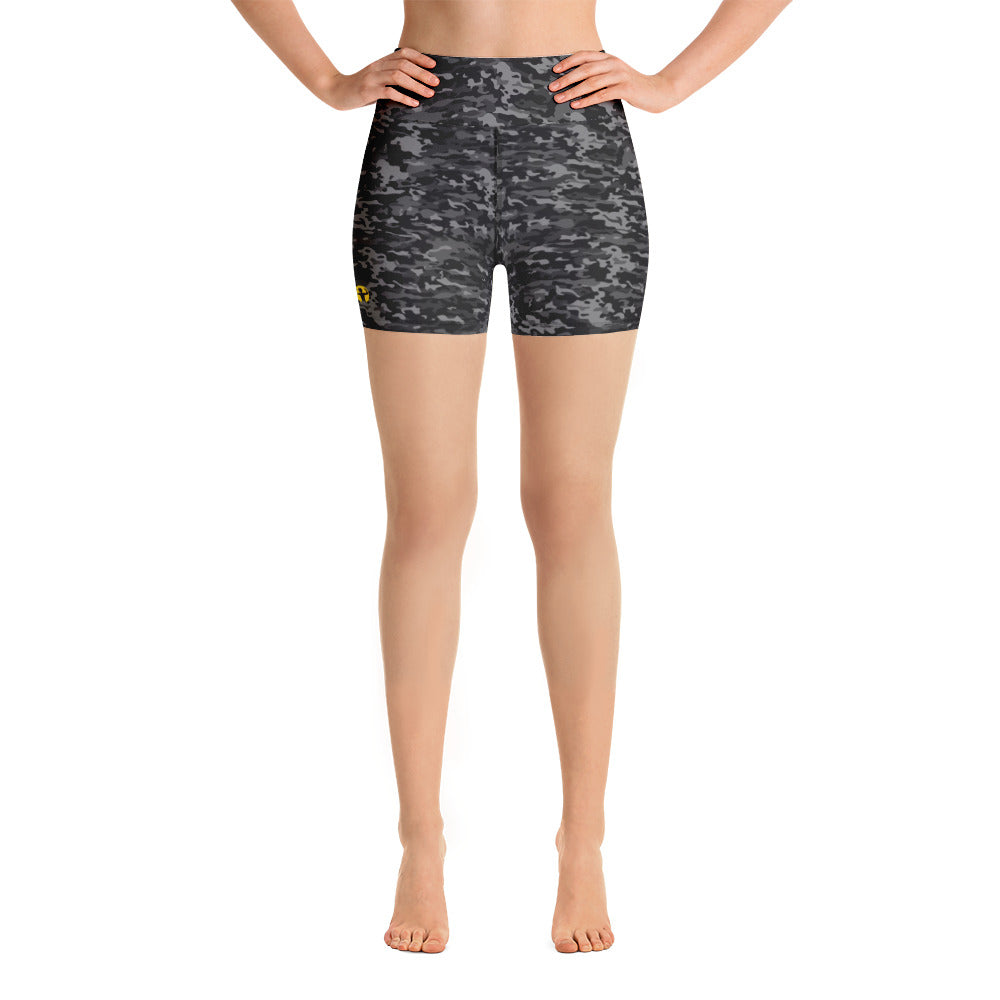 Camo, grey | High Waisted Shorts