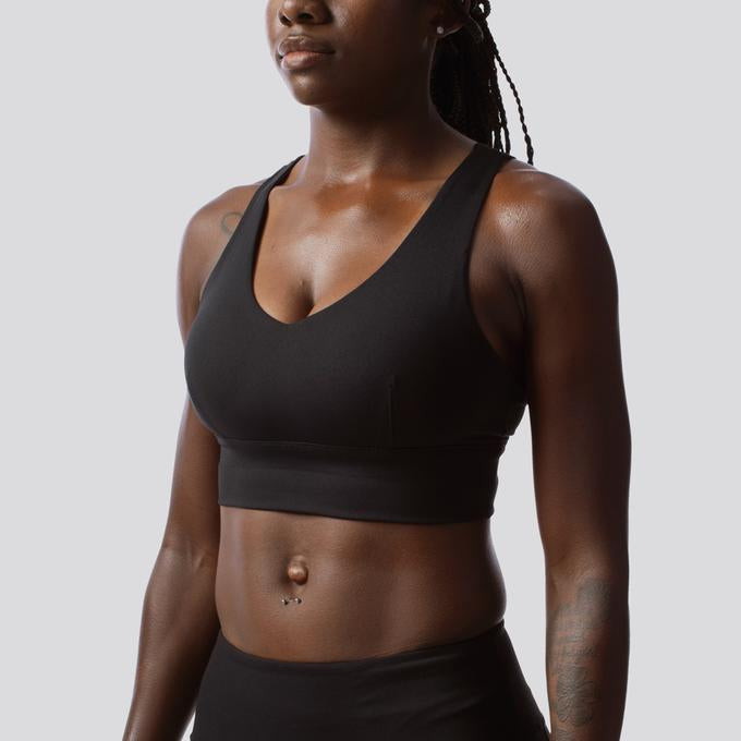 Beautiful high support sports bra for women. Available in black, wine (red) or white. By Born Primitive available online at Asskicker Activewear in Barrie, Ontario, Canada.