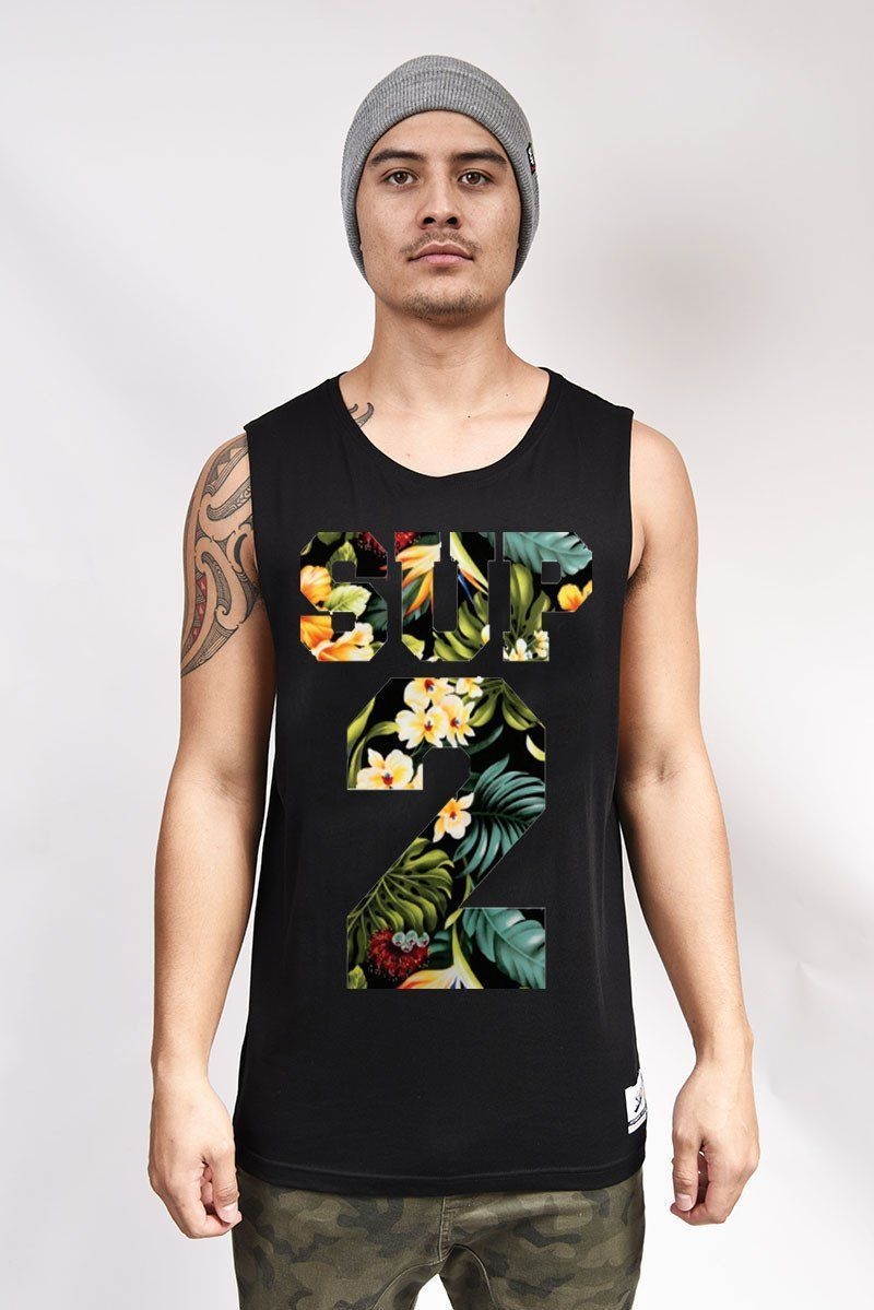Fantasy Island Black Sleeveless Tee - SUP2