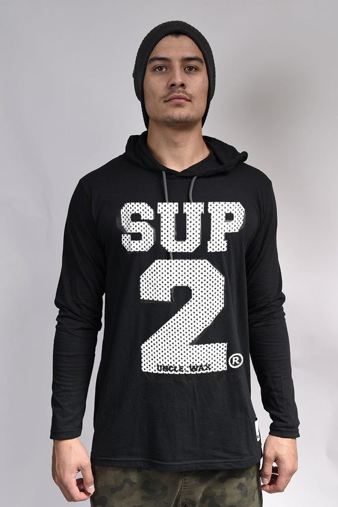 Mesh Mens Long Sleeve Hooded Tee - SUP2