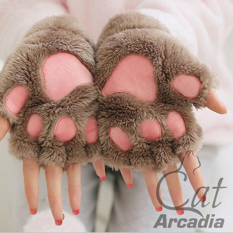 Plush Fingerless Cat Paw Gloves