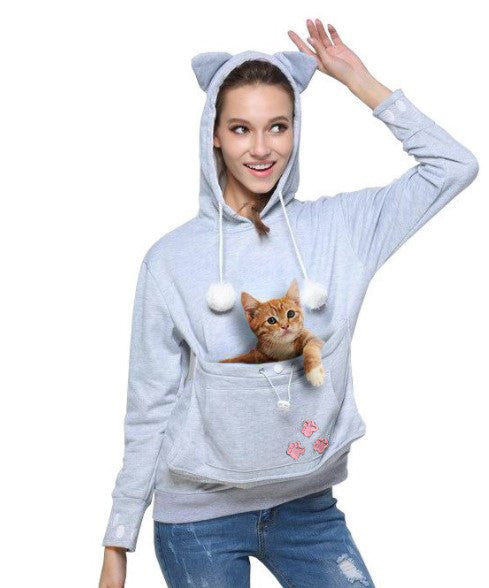 Cat Ear Kangaroo Hoodie with Cuddle Pouch