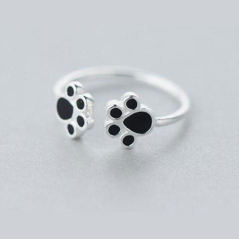 Adjustable Sterling Silver Cat Paw Ring