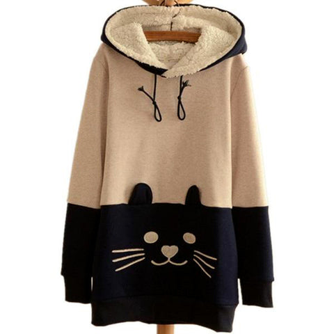 Cozy Kitty Pullover Fleece Hoodie