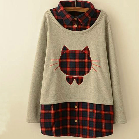 Charming Plaid Cat Sweater