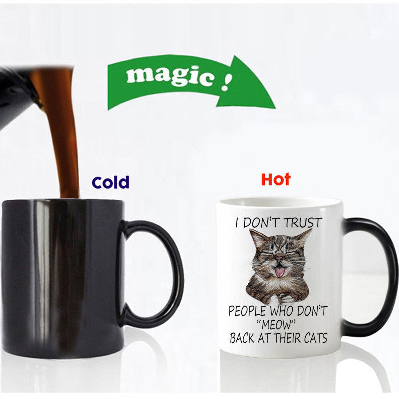 Color Changing Ceramic Cat Coffee Mug