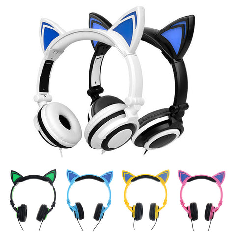 Foldable Cat Ear Headphones with Glowing Ears