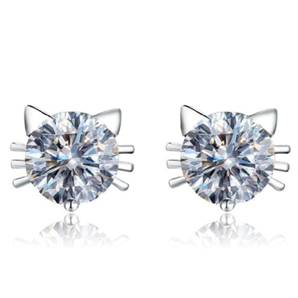 CZ Diamond Cat Earrings
