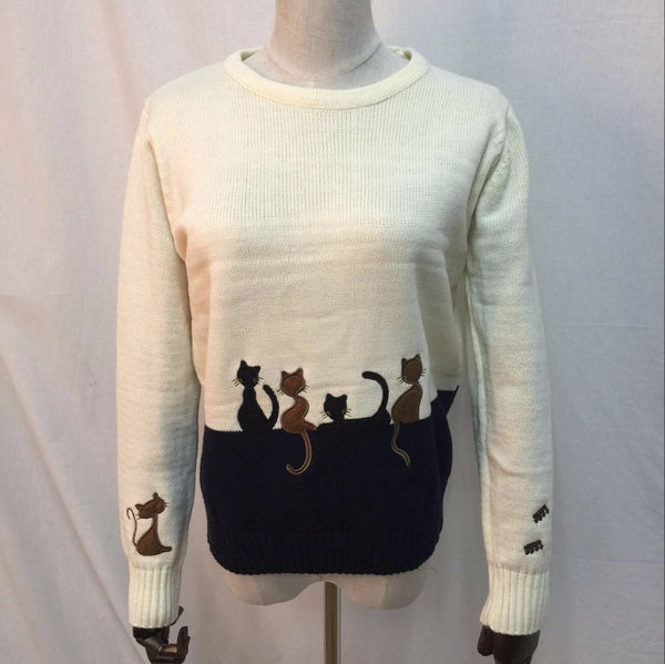 Hand Embroidered Cat Sweater