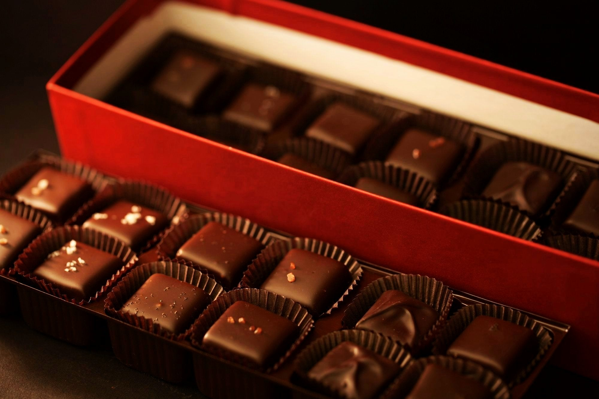 48 pc box of handcrafted salt caramels by redclaychocolate.com