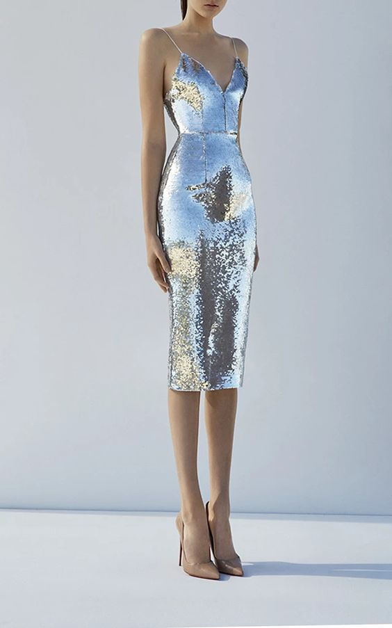 Silver sequin trend dress