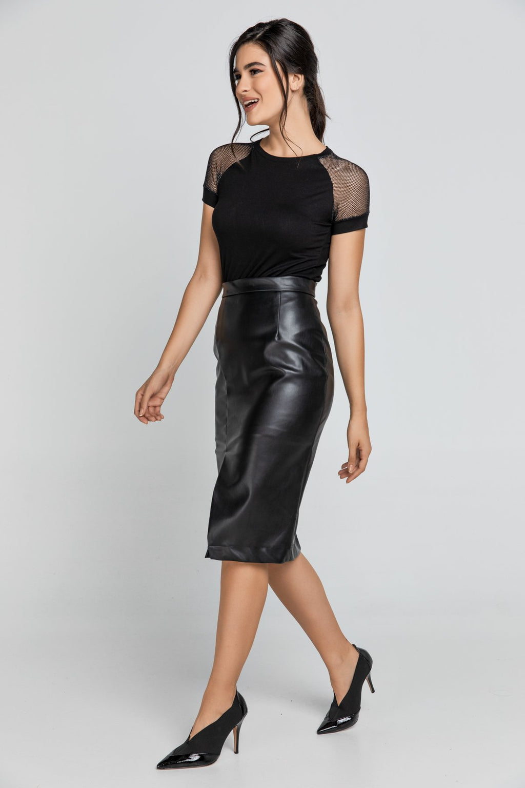 Black Faux Leather Pencil Slit Skirt by Conquista Fashion