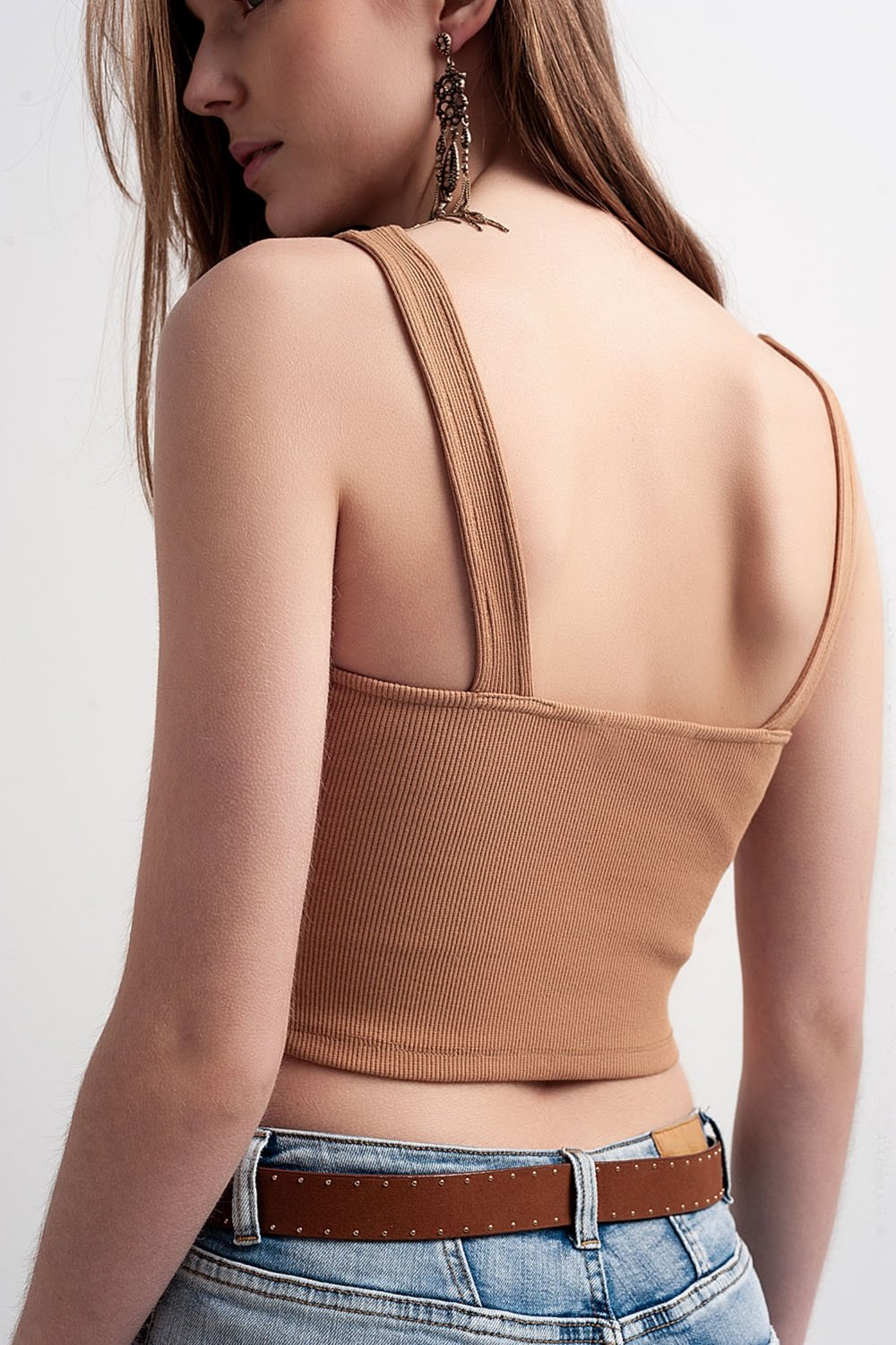 Rib Crop Top in Beige