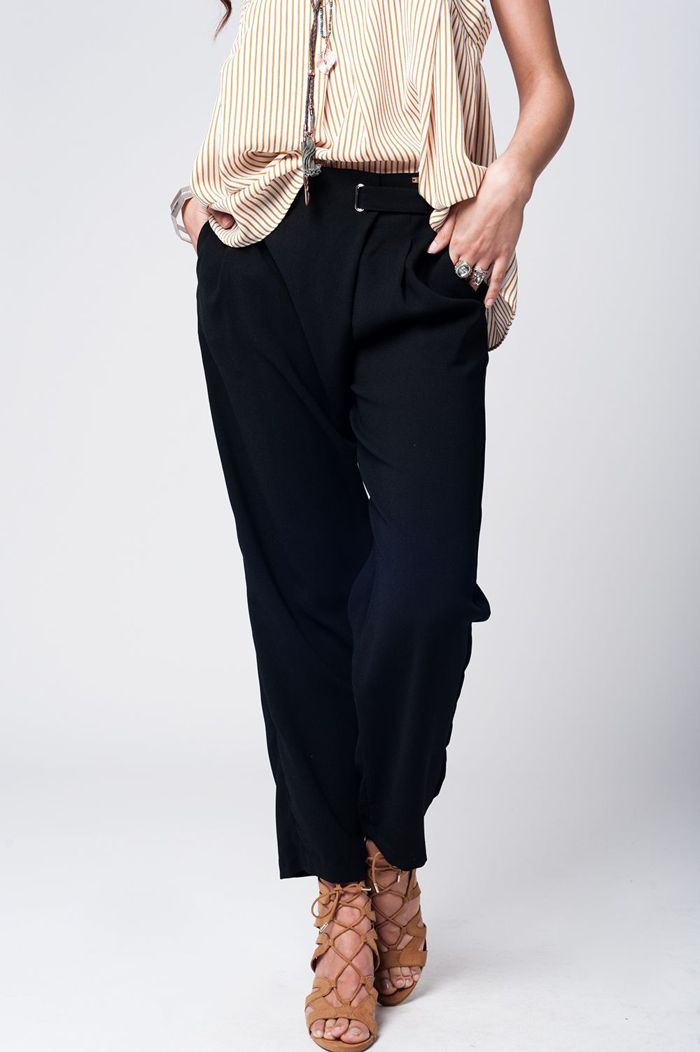 Q2 Black wide leg trousers with waist detail