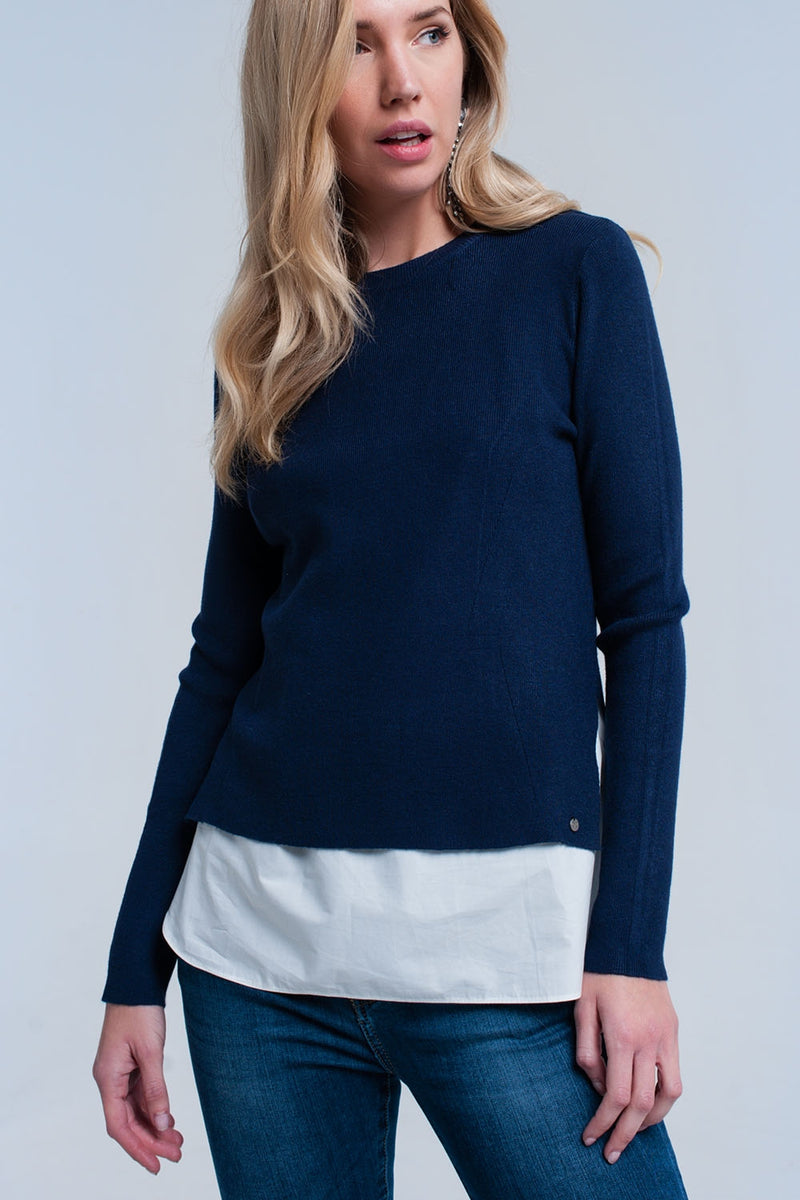 Navy sweater with shirt - KATANA FASHION BOUTIQUE