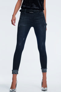Dark Grey Skinny Jeans With Ankle Detail - KATANA FASHION BOUTIQUE