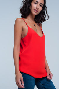 Red cami top with satin straps