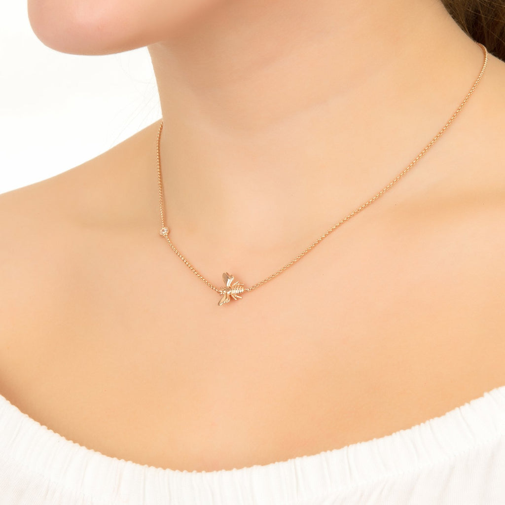 Queen Bee Necklace Rosegold - KATANA FASHION BOUTIQUE