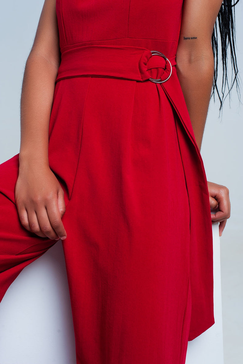 Q2 Red sleeveless jumpsuit with a belt - KATANA FASHION BOUTIQUE
