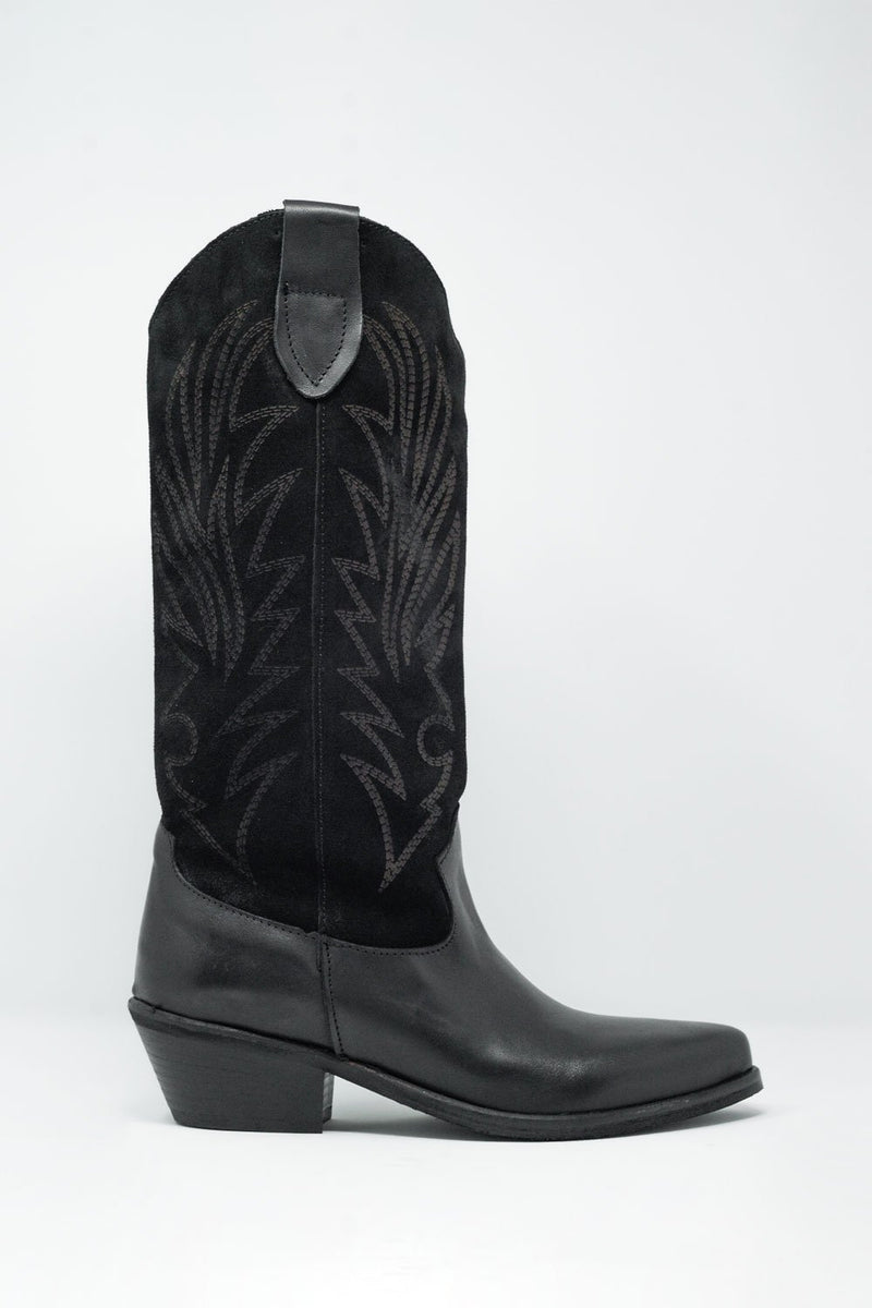 Black Western High Boots With Suede Print Detail - KATANA FASHION BOUTIQUE