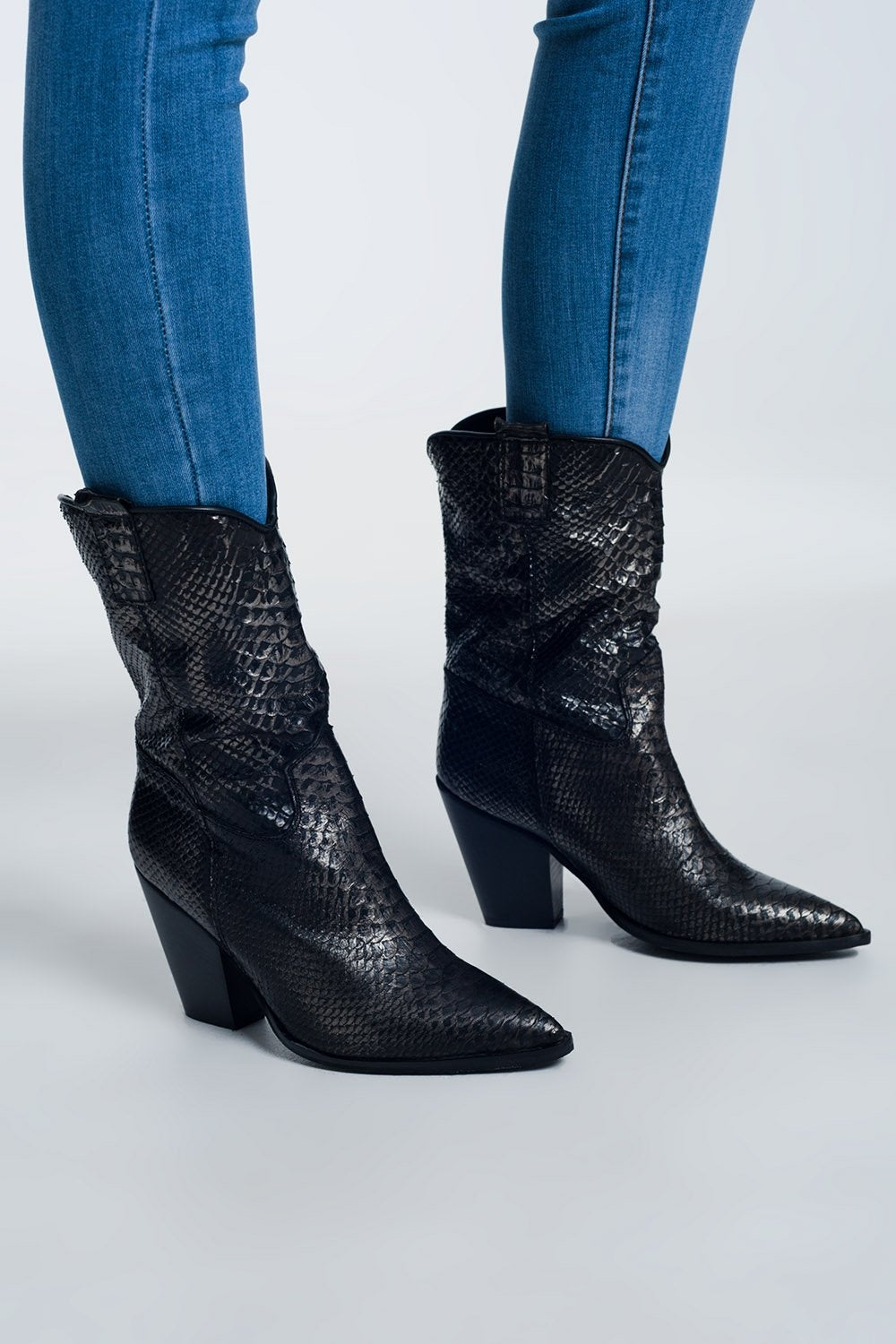High Ankle Boots in Black Croc