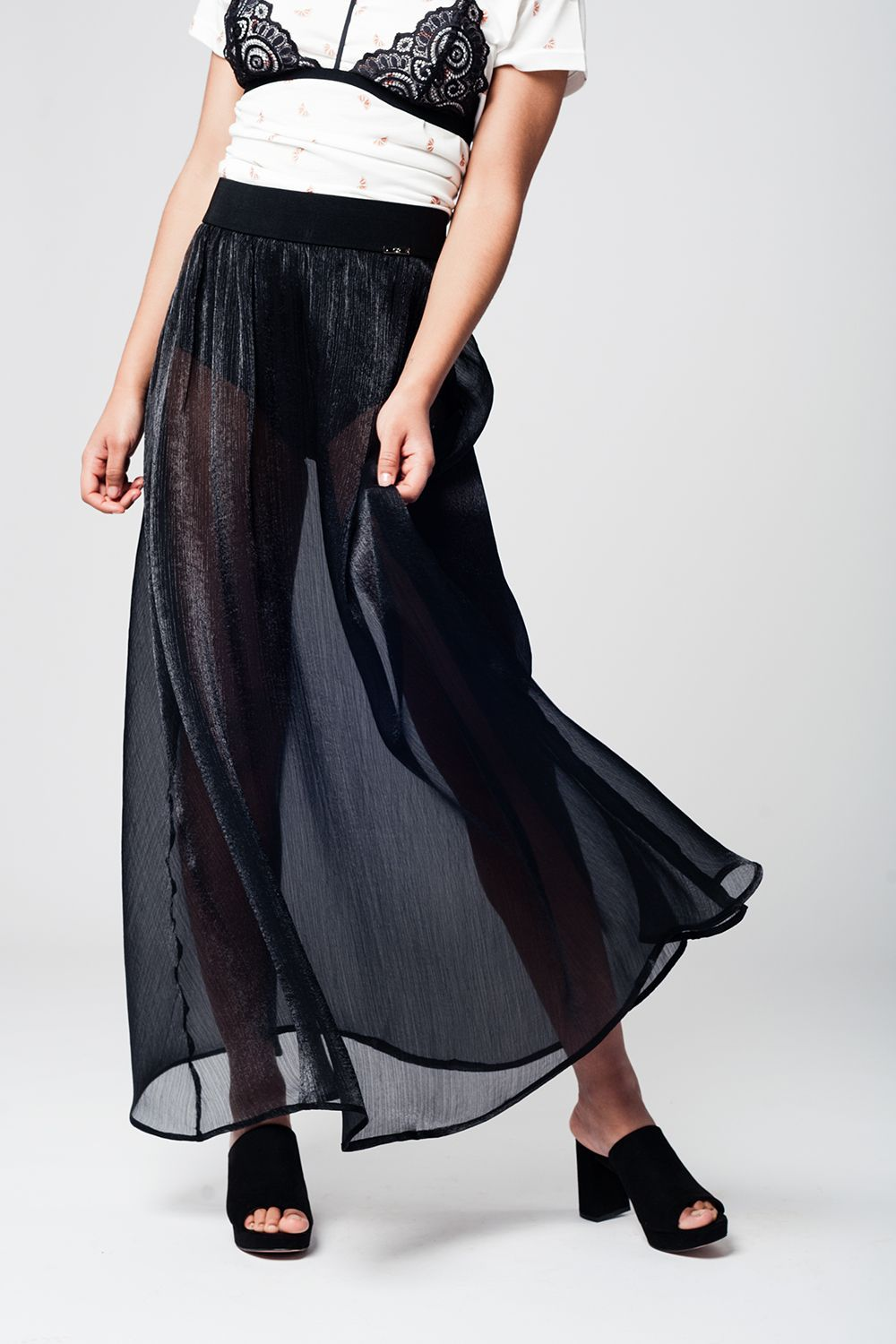 Black Maxi Skirt in Chiffon Fabric - KATANA FASHION BOUTIQUE