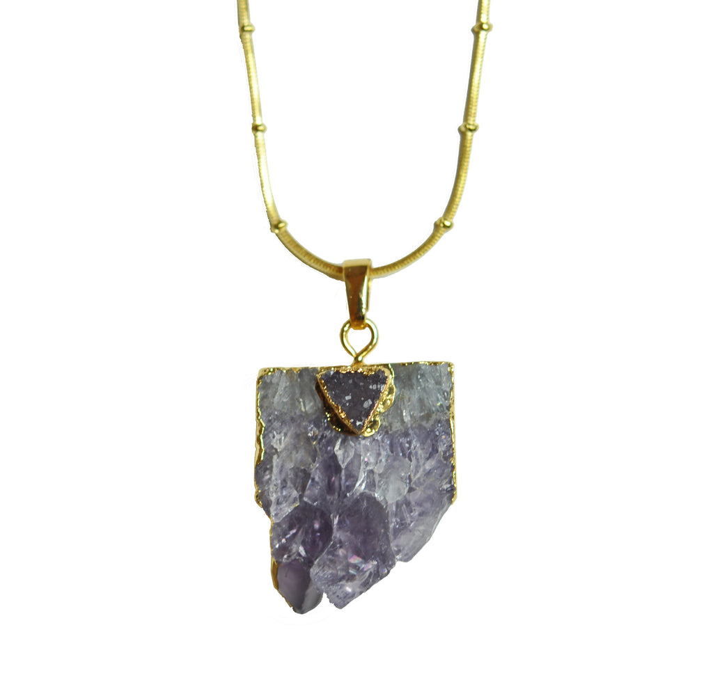 Double Chain Amethyst Pendant Necklace - KATANA FASHION BOUTIQUE
