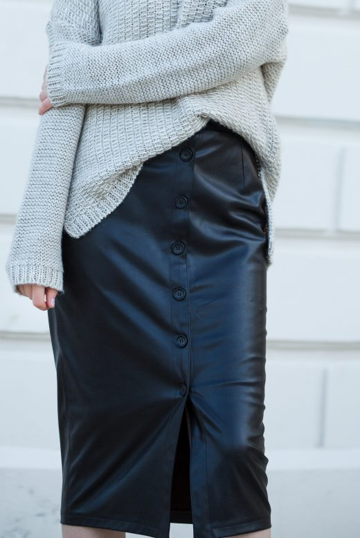 Faux Leather Buttoned Midi Skirt