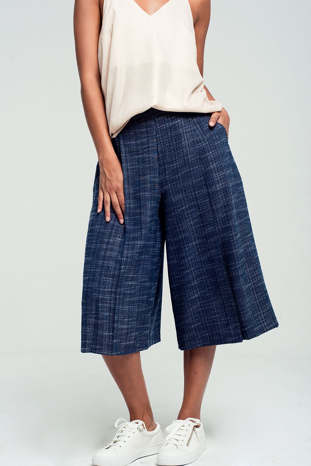 Tailored culottes casual pants in navy