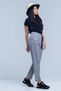 Pants in pique fabric with buckle detail - KATANA FASHION BOUTIQUE