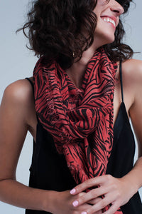 Red scarf with zebra print - KATANA FASHION BOUTIQUE