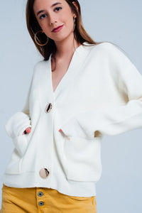 Cream cardigan in fine knit rib wit buttons - KATANA FASHION BOUTIQUE