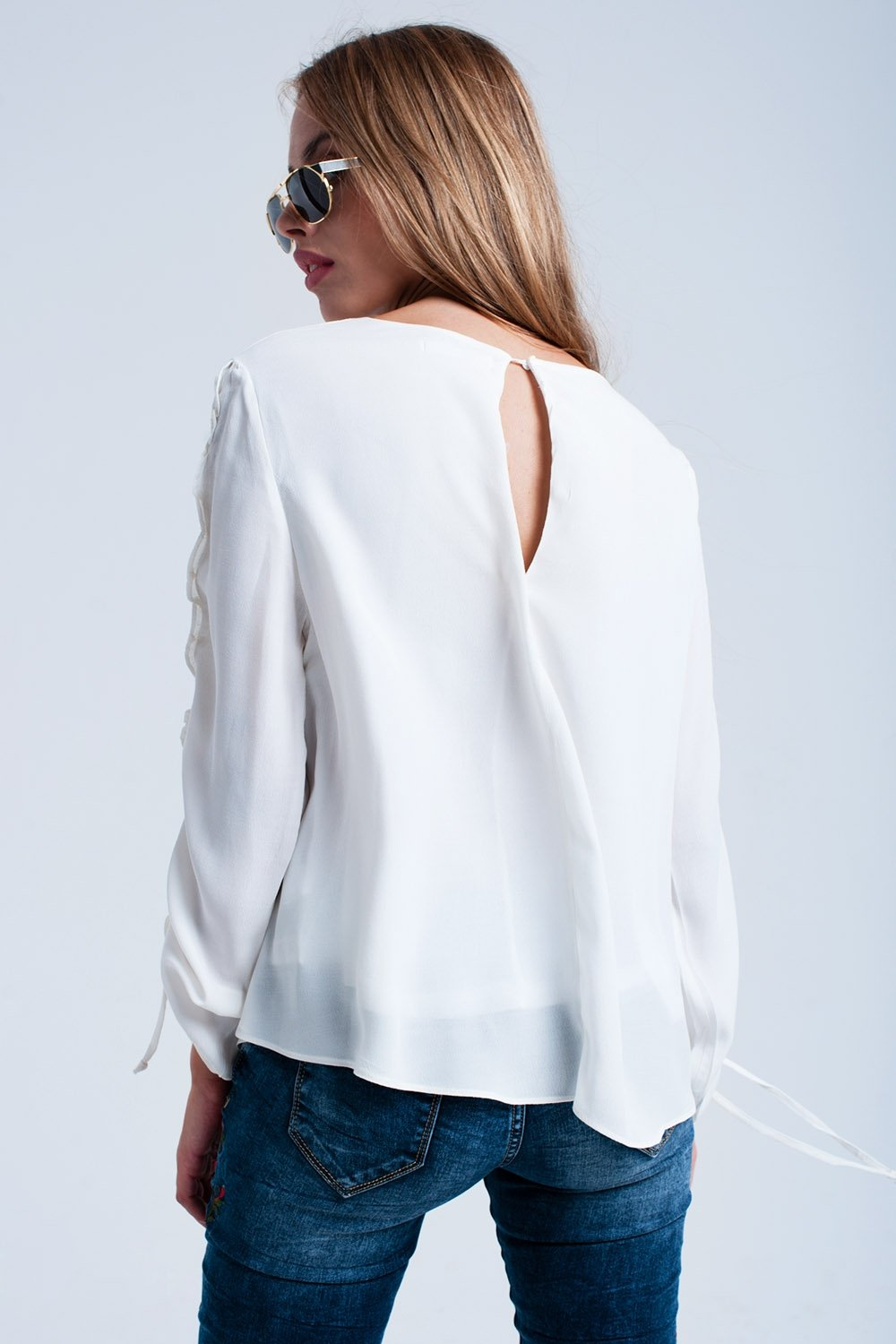 Cream Flowing Blouse