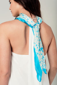 Silk scarf in turquoise star print - KATANA FASHION BOUTIQUE