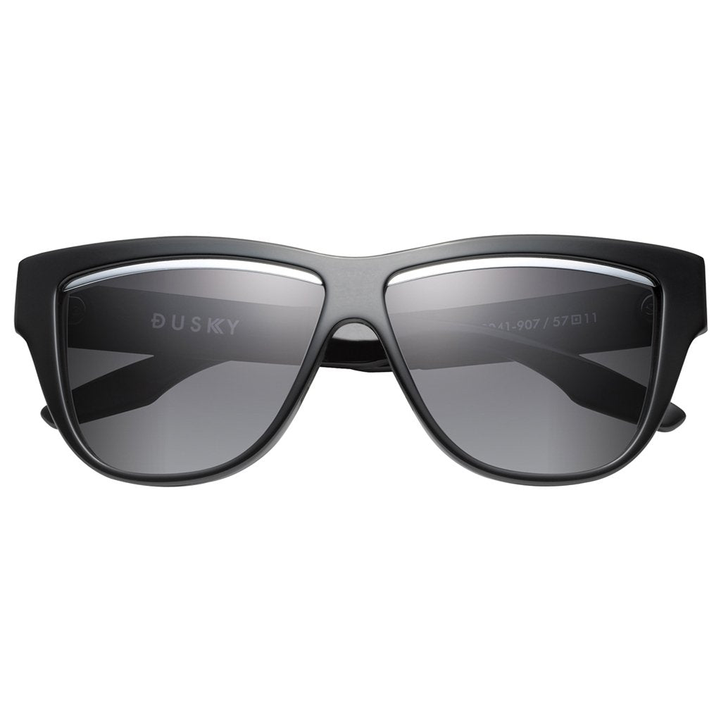 IVI Sunglasses  Dusky: Polished Black - Brushed Black / Grey Lens
