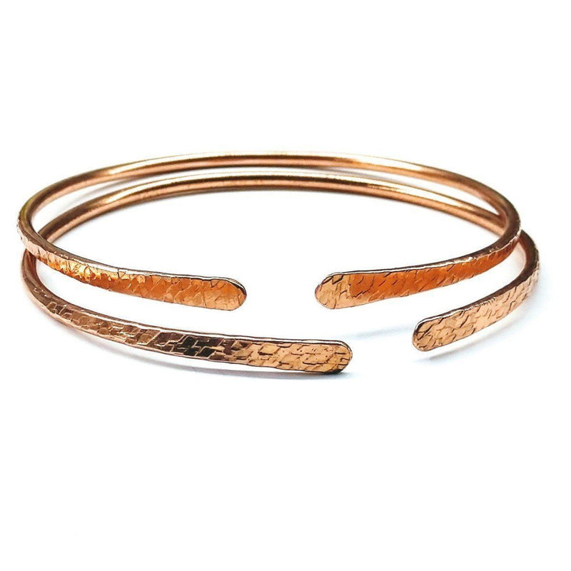 Hammer Textured Bare Copper Bangle